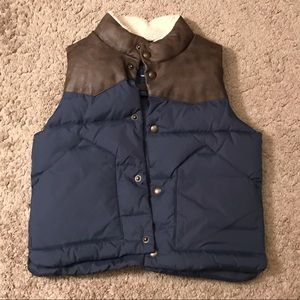 NEW Kids Puffer Vest-4T Navy/Faux Brown Leather